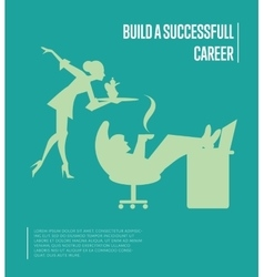 Build successful career banner with secretary vector