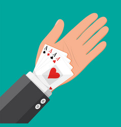 Businessman hides aces playing cards in his sleeve vector
