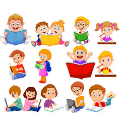 cartoon school children reading book and operating vector image
