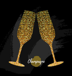 Champagne glass icon golden sparkle vector