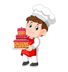 chef holding a plate with a delicious cake vector image