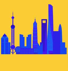 china travel landmark shanghai architecture vector image