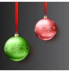 Christmas balls on dark background vector image