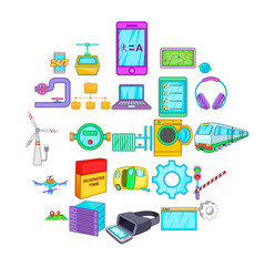 circuit icons set cartoon style vector image