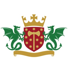 Coat arms - dragons shield crown and banner vector