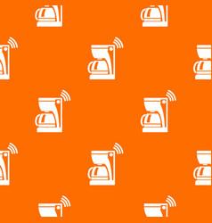 Coffee maker pattern orange vector
