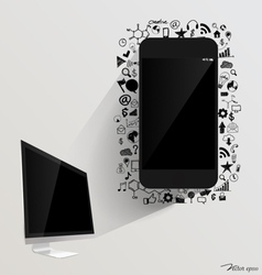 Computer display and Touchscreen device with vector image