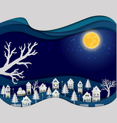 countryside landscape in night scene background vector image