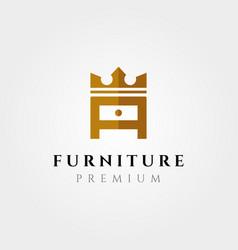creative furniture logo symbol design letter a vector image