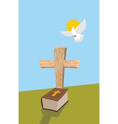 Cross and Bible Christian grave Soul of man in vector image