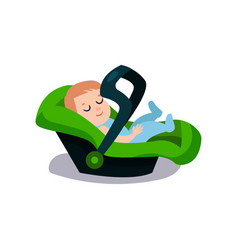 Cute baby sleeping on a green car seat safe child vector