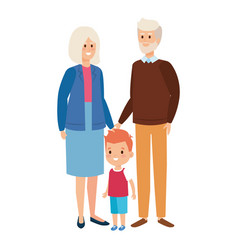 Cute grand parents couple with grandson vector