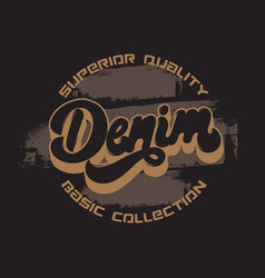 denim handwritten lettering made in old school vector image