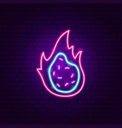 dragon fruit slice neon sign vector image