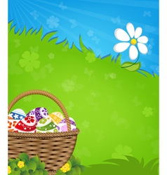 Easter basket and flower vector image