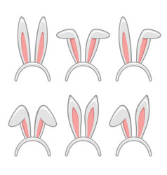 easter rabbit ears masks set vector image