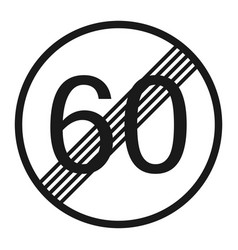 End maximum speed limit 60 sign line icon vector