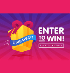 Enter to win prizes gift box cartoon style banner vector