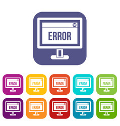 error sign on a computer monitor icons set vector image