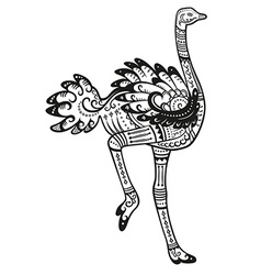 Ethnic ornamented ostrich vector