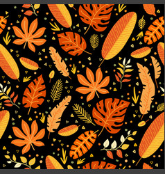 Floral seamless pattern with a fallen leaves vector