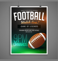 Football event card design invitation template vector