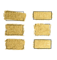 Gold paint ink brush stroke brush line or texture vector