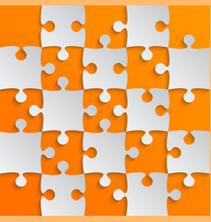 grey puzzle pieces orange jigsaw field chess vector image