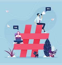 Group people with hashtag icon-social media vector