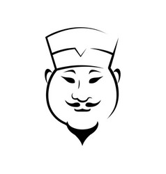 happy asian chef outline vector image