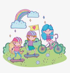 happy children day kids riding bike vector image
