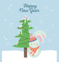 happy new year 2020 celebration cute rabbit with vector image