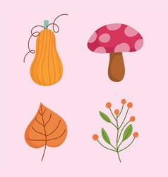 Happy thanksgiving day mushroom pumpkin leaf and vector