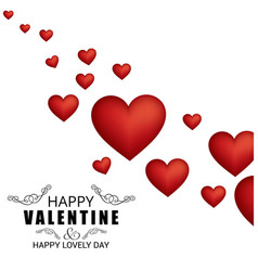 happy valentines day card with pattern oh hearts vector image