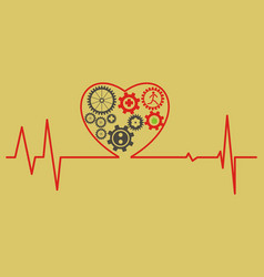 Healthcare concept cardiogram heart symbol vector