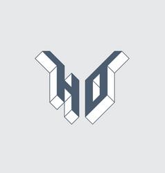 Ho - logo or 2-letter code isometric 3d font vector