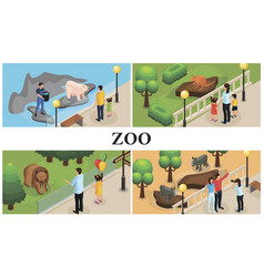 isometric zoo animals colorful composition vector image