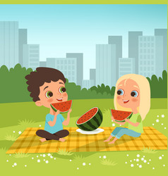kids couple sitting in urban garden and eat vector image