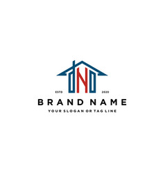 Letter dno home roof logo design and business card vector
