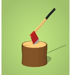 Low poly hatchet in the stump vector