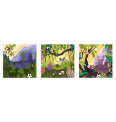 magic rainforest compositions set vector image