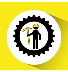 Man mining gears pickax icon vector