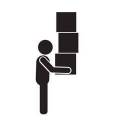 man moving box pictogram icon design vector image