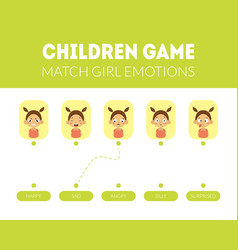 match girl emotions educational game for preschool vector image