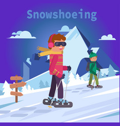 Men on mountain in snowshoes flat vector