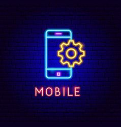 mobile neon label vector image
