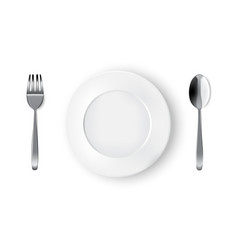 mock up realistic white plate or dish metal spoon vector image