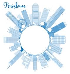 Outline brisbane skyline with blue building vector