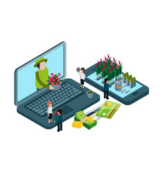 plants and flowers online shop isometric vector image