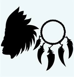 portrait american indian and dream catcher vector image